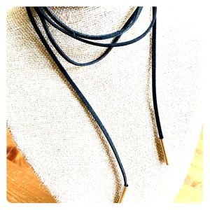 Black Leather Lariat Necklace